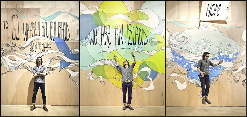 Boyd in Front of Mural